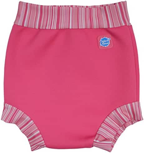 Happy Nappy Baby and Toddler Swim Diaper, Pink Candy Stripe, Large 6-14 Months