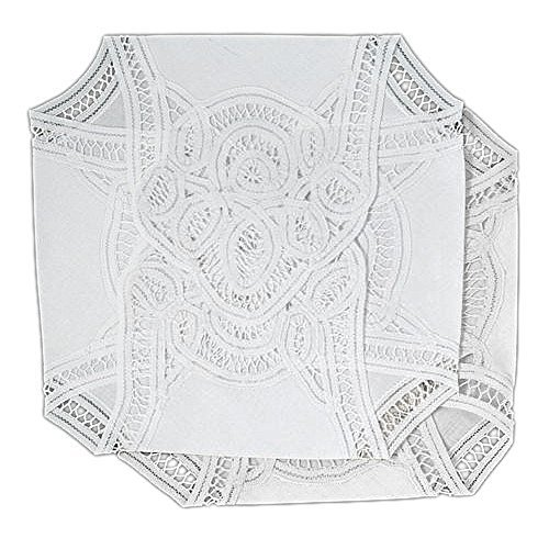 Bread Basket Liner - Bread Basket Liners Bun Warmers White Cotton Cloth with Battenberg Lace 18 X 18 Inch (Set of 2)