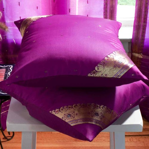 Violet red - Set of 2 Decorative handcrafted Sari Cushion Cover, Throw Pillow Case 20