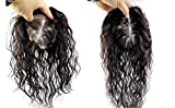 Moreal Natural Black Curly Human Hair Handtied Mono Top Topper Clip in Top Hairpiece for Women with Hair Loss (15x17cm, 30cm)