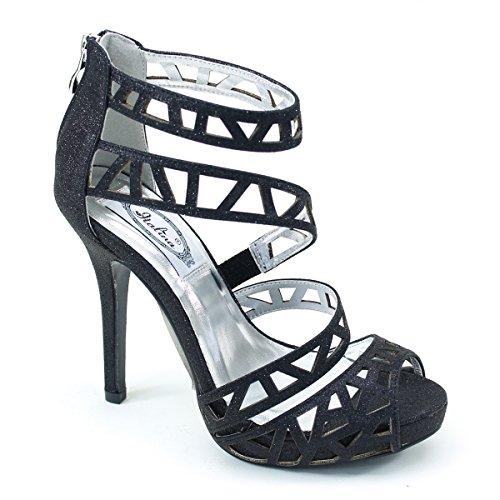 New Brieten Womens Cut-out Strappy Peep Toe Ankle Strap Back Zipper High Heel Dress Party Sandals Black nLsGK1M