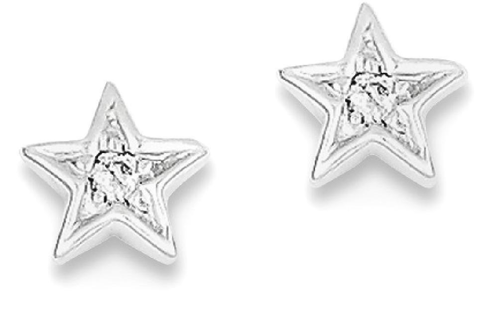 ICE CARATS 925 Sterling Silver Diamond Star Post Stud Earrings Celestial Fine Jewelry Gift Set For Women Heart