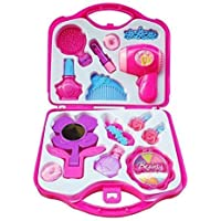 Brand Conquer Kids Pretend Play Make Up Case and Cosmetic Set, Durable Beauty Kit Hair Salon with Makeup Accessories for Children Girls