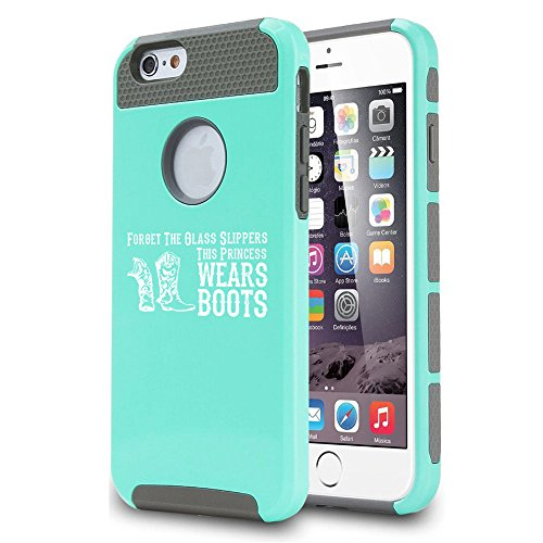 For Apple iPhone 7 Shockproof Impact Hard Soft Case Cover Princess Wears Boots Cowgirl (Teal)