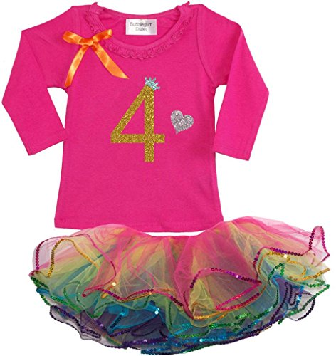 Bubblegum Divas Little Girls' 4th Birthday Rainbow Tutu Outfit Long Sleeve 5-6
