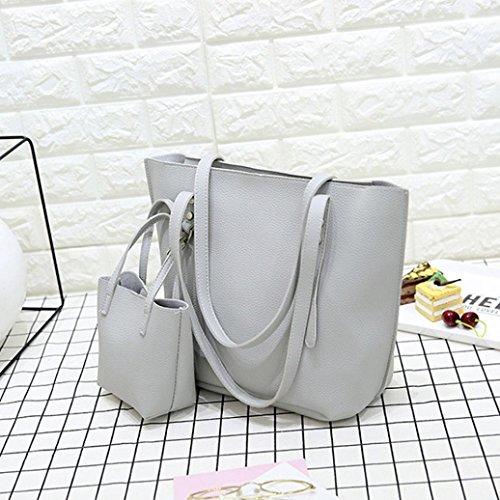 Conjunto Mujer Bolsos Baratos gris Bolsas De Pu Crossbody Cuero 1pc twqAY7