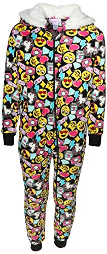 Rene Rofe Girl's Plush Fleece Onesie Pajamawith Sherpa Lined Hood, Multi Color Emoji, Size 7/8'