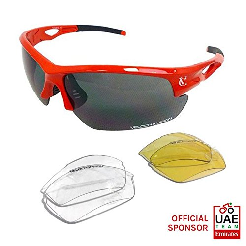 VeloChampion Tornado Cycling Running Sports Sunglasses - Red with 3 Sets of Lenses and Soft - Glasses Ray Sun Ben