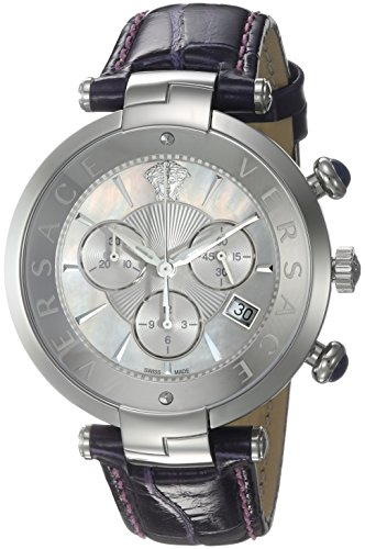 Versace-Womens-REVE-Swiss-Quartz-Stainless-Steel-and-Leather-Casual-Watch-ColorPurple-Model-VAJ030016