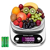 Food Scale,PALMOO Digital Kitchen Scale, 22lb/10kg Multifunction Weight Scale Electronic Baking & Cooking Scale with LCD Display and Tare Function,Stainless Steel Large Platform(10kg/1g) Silver