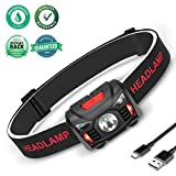 Winzwon Led Rechargeable Headlamp,1 Bright White & 2 Red Led Flashlight, 60 Grade Adjustable Head Lamp Motion Sensor Switch Headlamp Waterproof for Camping Running Hiking Backpacking