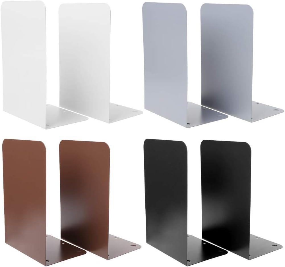 Scuola Ufficio Sqiuxia 1 Paio di fermalibri in Metallo fermalibri per casa con 4 Colori opzionali Grey