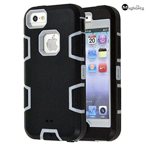 MagicSky 5C Case, iPhone 5C Case Cover, Full Body Hybrid Impact Shockproof Defender Case Cover for Apple iPhone 5C, 1 Pack (C Grey/Black)