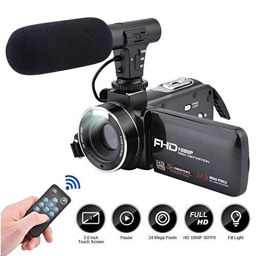 Videocámara, CamKing FHD 1080P 24.0MP 16X Cámara de Video Digital con micrófono Externo y 3.0 Pulgadas IPS HD Pantalla…