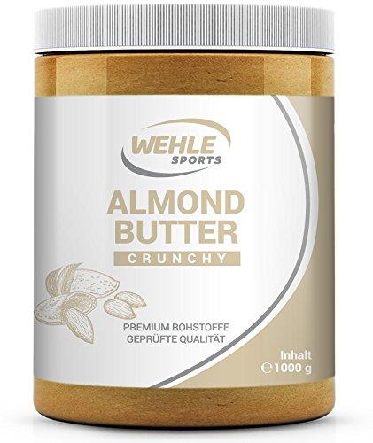 Burro di mandorle 1 kg – Crema di mandorle premium - Wehle Sports burro di mandorle naturale crema spalmabile vegana/vegetariana adatta per frullati, per dolci al forno, merenda Almondbutter (Crunchy (Granuloso))