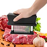 Professional 48-Blade Meat Tenderizer, Stainless Steel Needle Tenderizer Tool for Tenderizing & Marinating Steaks Chicken Fish
