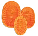 Colorbasket 51301-206 Hand Woven Waterproof Oval Food Basket, BPA Free, Bright Orange, Gift Box, Set of 3
