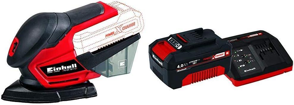 Einhell 4460713 Lijadora Multi TE-OS 18 li, 0 W, 18 V, Rojo + 4512042 Kit con Cargador y batería de repuest, tiempo de carga: 60 Minutos: Amazon.es: Bricolaje y herramientas