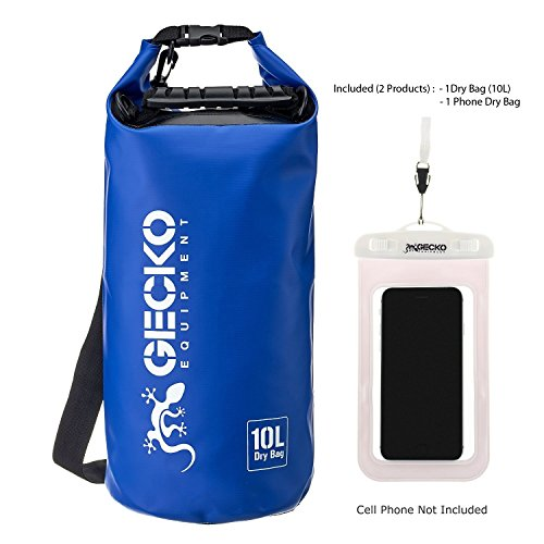 Gecko Equipment -Waterproof Dry Bag -Roll Top Dry Compression Sack Designed to Keep Your Gear Dry. Include Phone Dry Bag. Perfect for Boating, Hiking, Fishing, Rafting, Beach and Camping (Blue 20L)