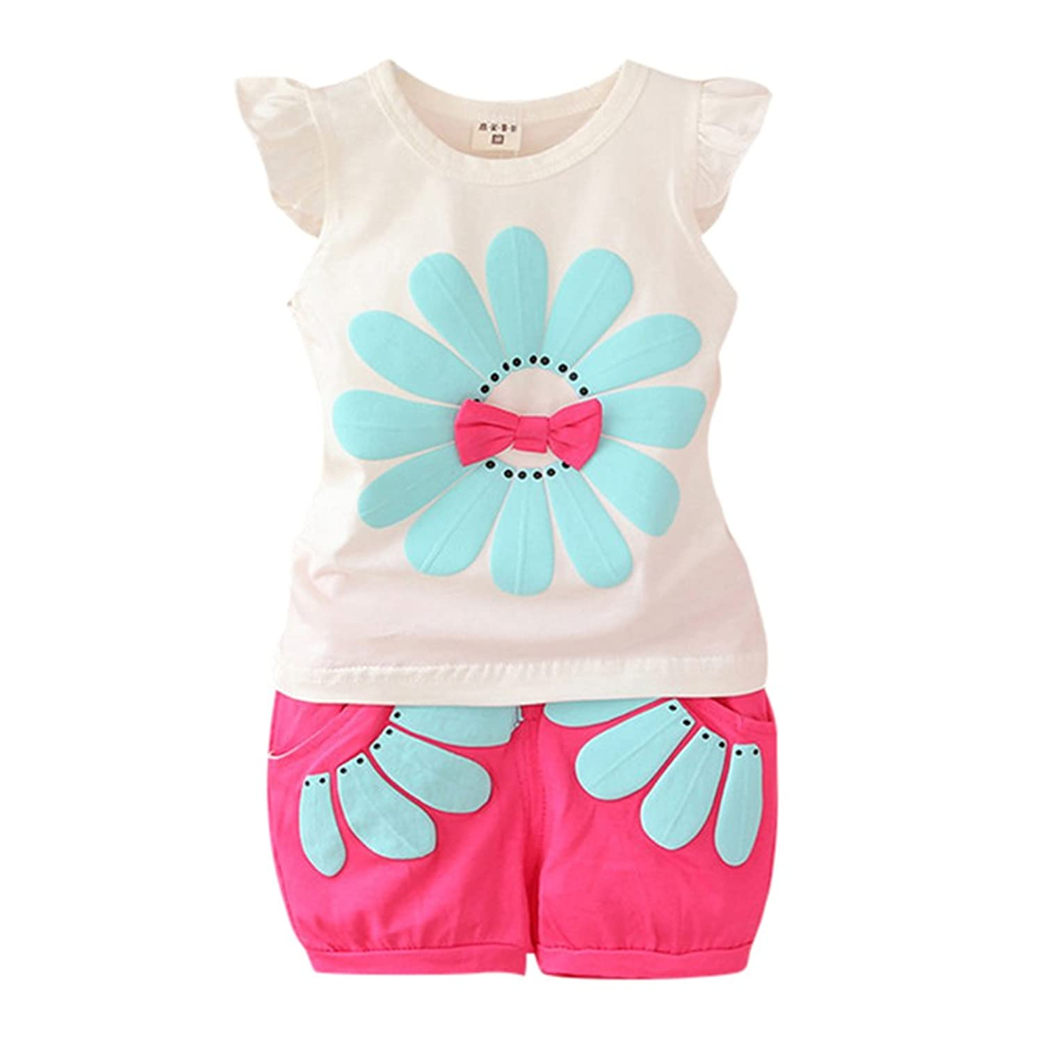 ESHOO Little Girls Sunflower Tops and Shorts Set Summer 2 Pieces Outfits