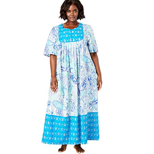 Only Necessities Women's Plus Size Mixed Print Long Lounger - True Blue Paisley, 2X
