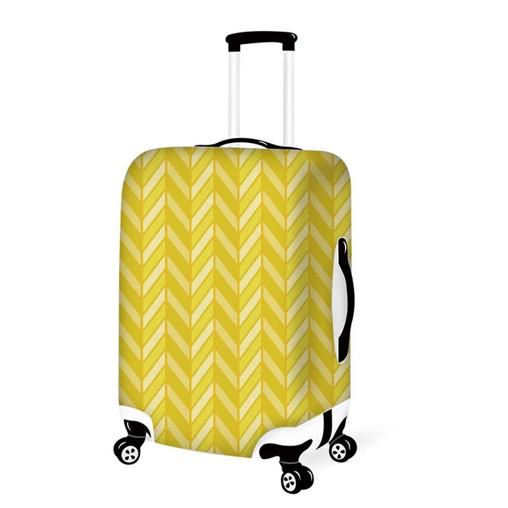 26.3W x 30.7H Yellow Chevron Stylish Luggage Cover,Vertical Retro Chevron Motif in Yellow Color Tones Decorative for Luggage,L