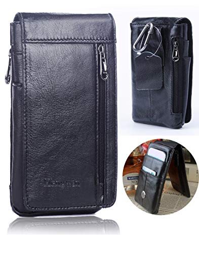 Hwin Belt Case Pouch Belt Clip Holster Compatible iPhone 8 Plus, Premium Leather Phone Pouch Carrying Case Belt Loops Ultrathin Waist Bag Men's Purse Galaxy S8/S9 Plus LG Stylo 3/G6/V30+Keyring-Black (Phone Case Note 3 With Clip)
