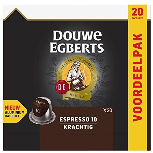 Douwe Egberts Aluminum Nespresso Compatible Coffee Capsules - Espresso 10 - Krachtig Flavor - Box of 20 (Egberts Douwe Cafe)