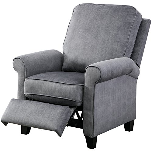 Positioning Push Chair - BONZY Roll Arm Push Recliner Semiattached Back Cushion, Slate Gray