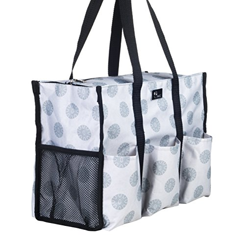Tortoise Bag - Pursetti Zip-Top Organizing Utility Tote Bag with Multiple Exterior & Interior Pockets for Working Women, Nurses, Teachers and Soccer Moms (Tortoise Shells)