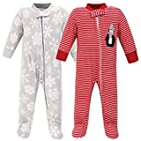 Hudson Baby Unisex Baby Fleece Sleep and Play, Red Penguin, 6-9 Months