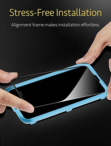 ESR [2 Pack] Screen Protector for iPhone Xs/iPhone X, [3D+ Maximum  Protection Full Coverage], [Easy Installation Frame], Premium Tempered  Glass Screen