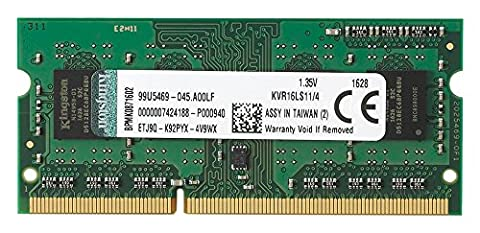 Kingston Technology 4GB 1600MHz DDR3L PC3-12800 1.35V Non-ECC CL11 SODIMM Intel Laptop Memory (Sdram Ddr3l De 8 Gb A 1600 Mhz)