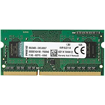 Kingston Technology 4GB 1600MHz DDR3L PC3-12800 1.35V Non-ECC CL11 SODIMM Intel Laptop Memory KVR16LS11/4