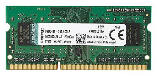 Kingston Technology 4GB 1600MHz DDR3L PC3-12800 1.35V Non-ECC CL11 SODIMM Intel Laptop Memory KVR16LS11/4 (S 4 Sodimm Memory)