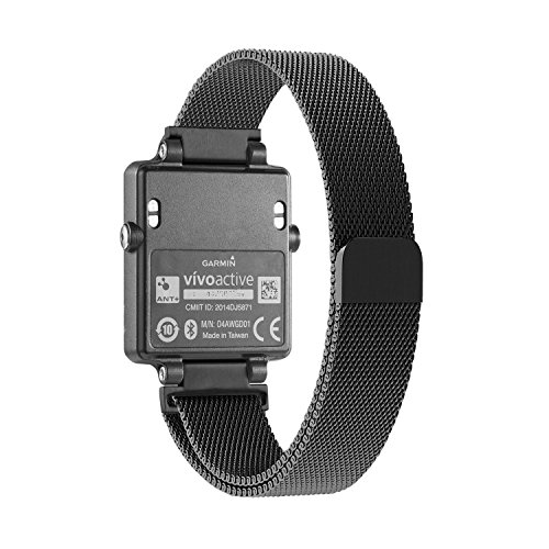 Garmin vívoactive Replacement Band - Stainless Steel Magnetic Milanese Loop Fitness Tracker Watch Strap (Black)
