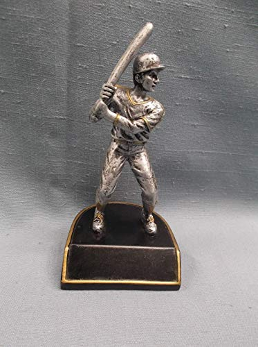 (Small Male Baseball Statue Trophy Resin Award Black Base )