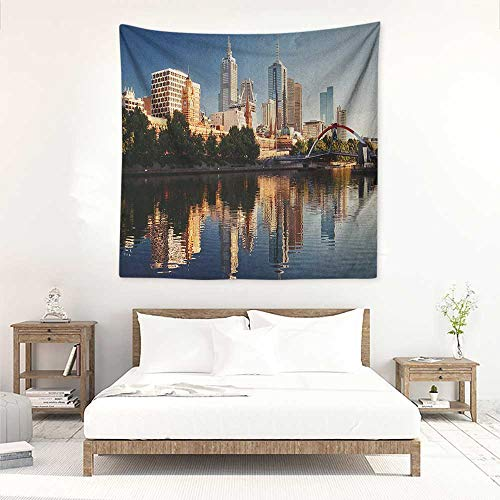 City Square Tapestry Idyllic View of Yarra River Melbourne Australia Architecture Tourism Wall Hanging Carpet Throw 70W x 70L INCH Dark Blue Ivory Dark ()