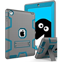 Topsky Case for iPad 2/3/4 Bundle with Stylus Pen, Screen Protector and Microfiber Cleaning Cloth - Grey Blue