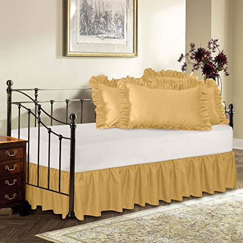 US Comfort Zone Decorative Bedding Soft Natural Dust Ruffle Bed Skirt Cal King Size 18'' Drop Fall Length Gold Solid 750TC 100% Egyptian Cotton 18' Cal King Bed Ruffle