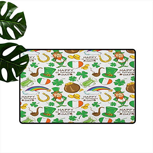 St. Patricks Day Non-Slip Door mat Irish Party Pattern Beer Leprechaun Flag Hearts Rainbow Gold and Shamrock Easy to Clean W35 x L59 Multicolor