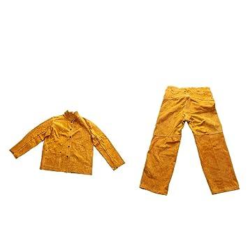FLAMEER Ropa Protectora Abrigo con Pantalones Soldadura Eléctrica Accesorio de Equipamiento Industrial: Amazon.es: Jardín