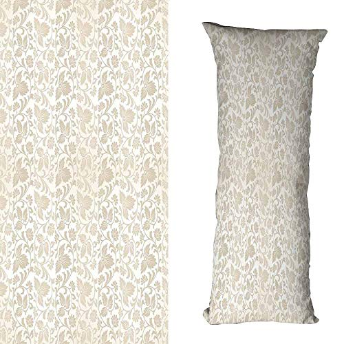 duommhome Floral Fashion Pillowcase Traditional Victorian Stylized Retro Swirl Flowers Classic Blooms Rococo Pattern Cushion W15.7X L47.2 inch Beige White