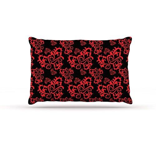 30 by 40\ Kess InHouse Mydeas Sweetheart Damask Black & Red Pattern Fleece Dog Bed, 30 by 40