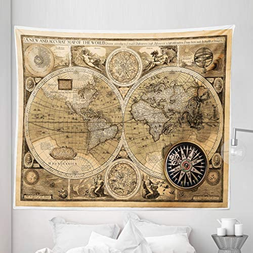 Ambesonne Wanderlust Tapestry King Size, Old Map 1626 a New and Accvrat Map of World Historical Manuscript, Wall Hanging Bedspread Bed Cover Wall Decor, 104 X 88 , Pale Yellow