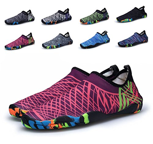 Herobest Women Womens Barefoot Quick Dry Sport Acquatici Aqua Shoes Per Surf Yoga Acquagym Nero & Rosa