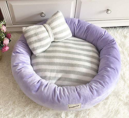 Self-Warming Round Dog Bed for Small and Medium Dogs & Cats, Luxurious Faux Fur Donut Cuddler, Bolster Pet Bed & Sofa, Extra Plush Dog Pillow & Couch, Machine Washable,Purple,S