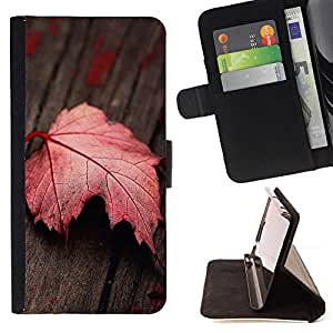 For Samsung Galaxy Core Prime Red Leaf Leather Foilo Wallet Cover Case with Magnetic Closure