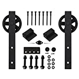 Hahaemall 15FT Antique Big Black Wheel Double Sliding Barn Wood Door Hardware Metal Rail Track Kit