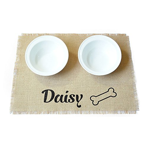 ZXB JEWELRY Custom Dog Placemat,Personalised Dog Feeding Mat with Name,Pet Placemat for Dog Food Bowl,Puppy Dog Pet Placemat,Pet Food Mat (Mats Feeding Personalised Dog)